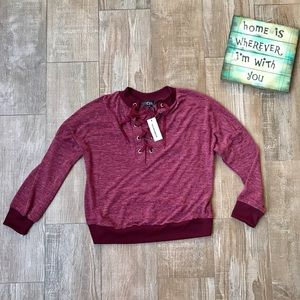 CBR Boutique 🌸Burgundy Slouchy Lace Front Sweater